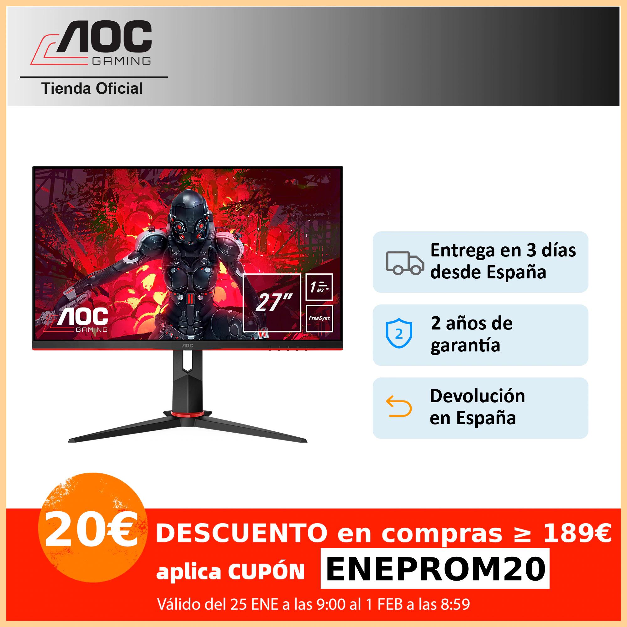 "Monitor PC gaming AOC 27G2U5/BK de 27"" Full HD (1920x1080) IPS, 16:9, 1000:1, 250cd/m, 1ms, 75Hz, FreeSync, FlickerFree, VESA"