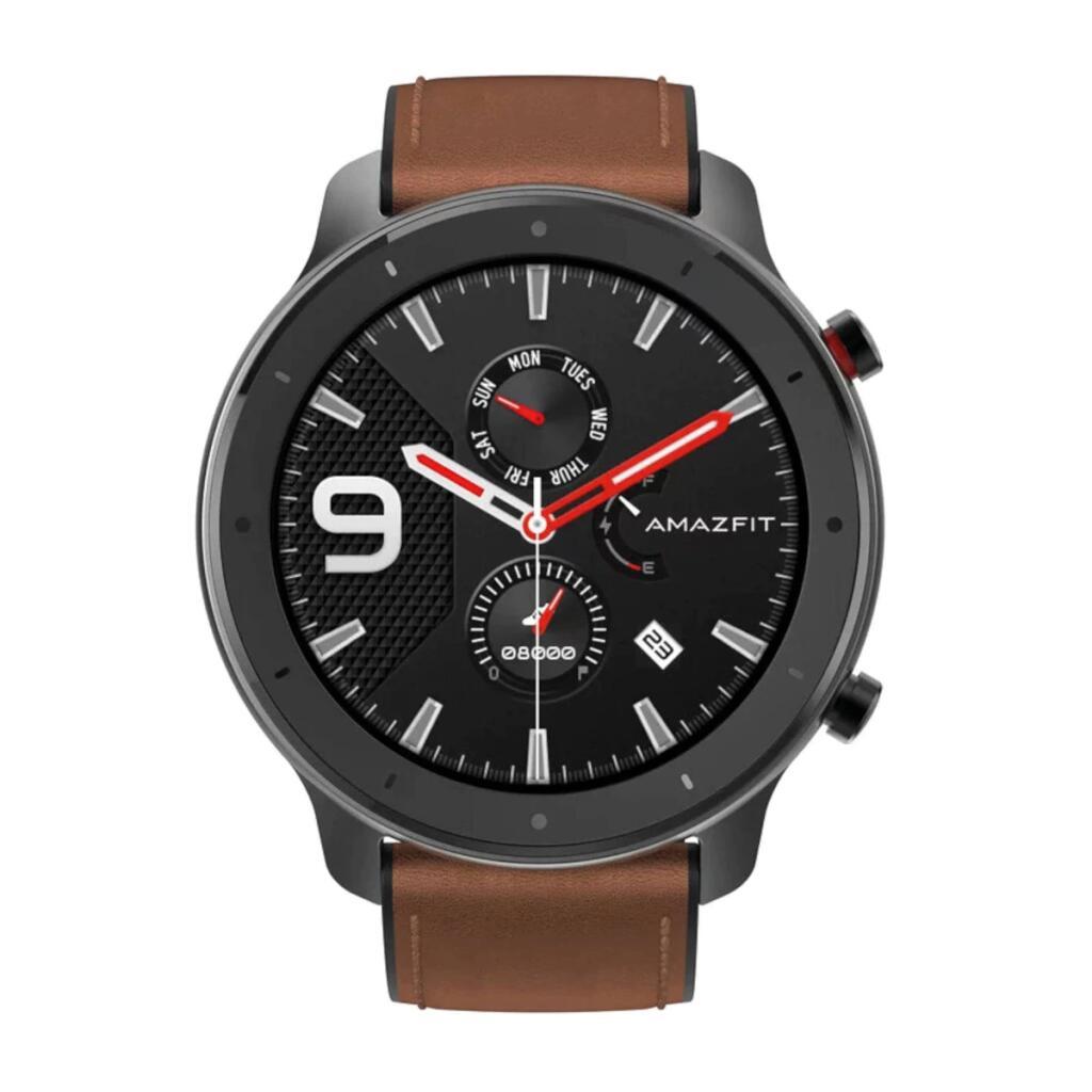 Amazfit GTR 47mm Aleación de aluminio y correa de cuero marrón Smartwatch