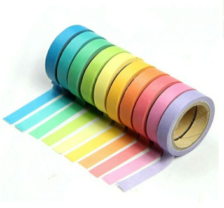 10 CINTAS ADHESIVA  decorativo de Washi Tape arco iris rollos de papel para Manualidades DIY