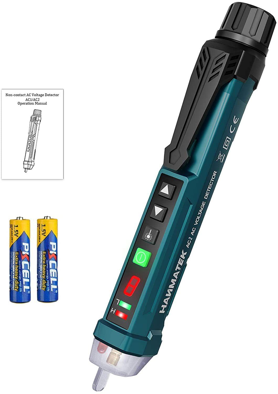 Detector de Voltaje sin Contacto con Pantalla LCD,12V-1000V Detector de Tension, Laser/Alarma Sonora y Luminosa