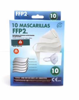 Pack de 10 Mascarillas FFP2 NR Adulto Blanca