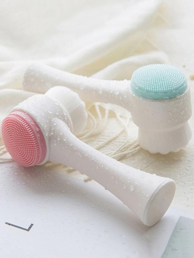 1 pieza cepillo de limpieza de cara con doble cabeza