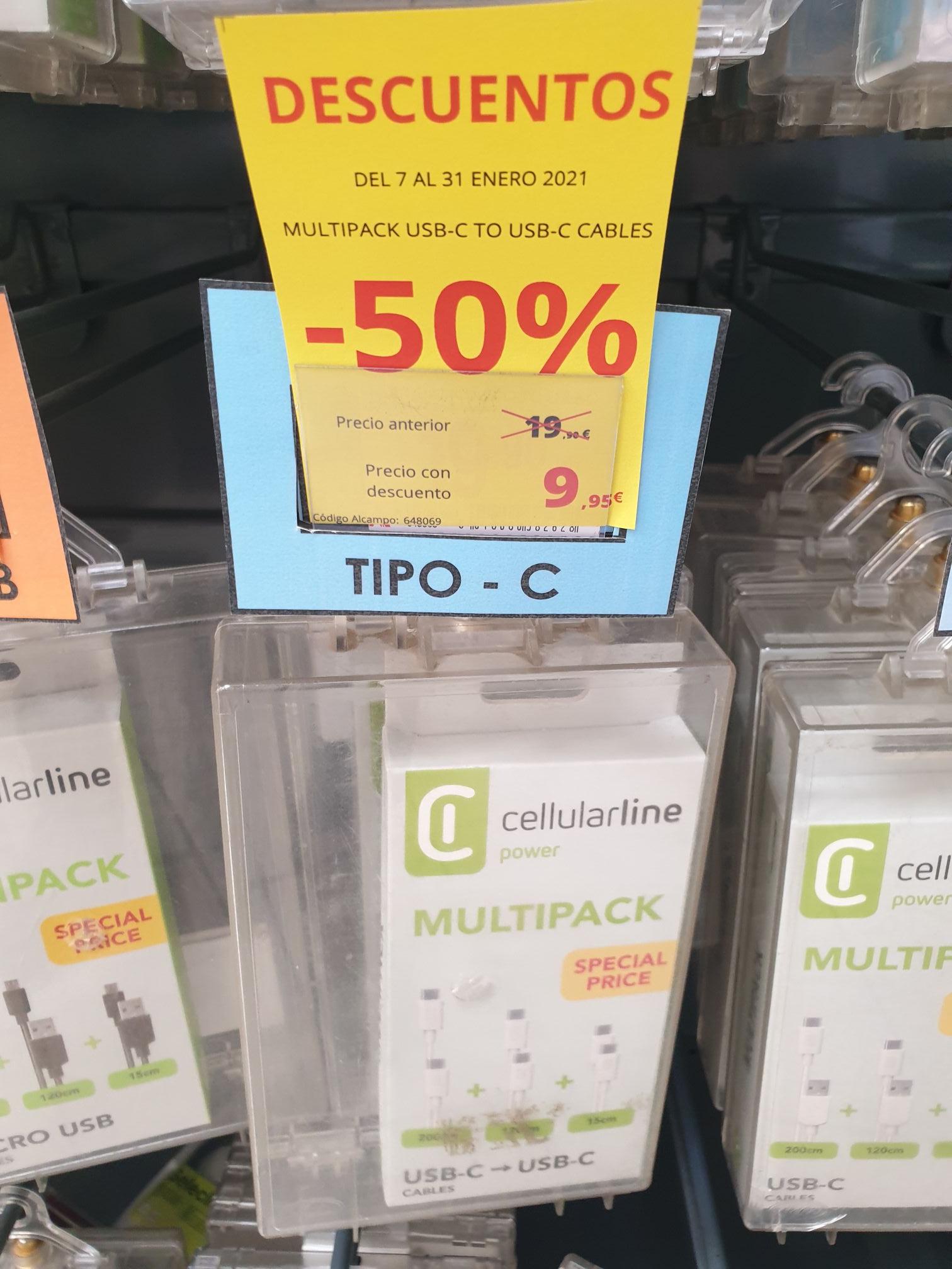 Pack de tres cables usb Tipo C a usb Tipo C