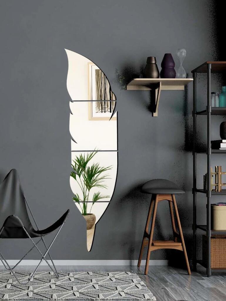 4 piezas pegatina de pared de espejo en forma de pluma