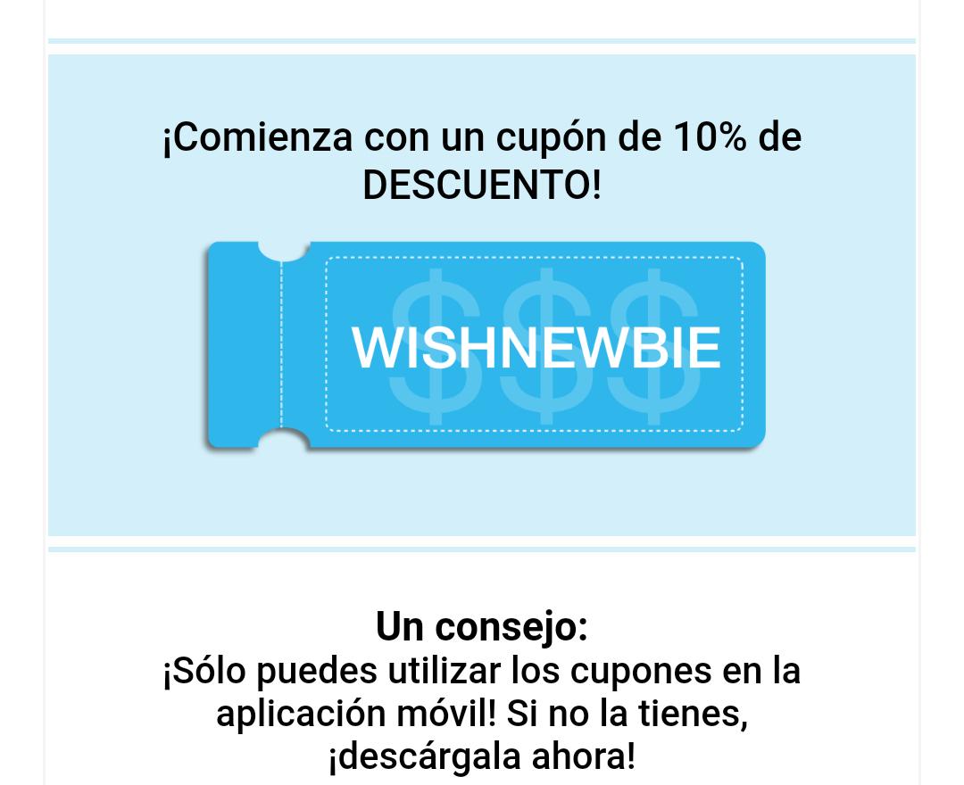 DESCUENTO 10% EN WISH