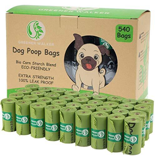 Greener Walker Bolsas para Excrementos de Perro,540 Unidades,Extra Grueso,Fuerte y 100% a Prueba de Fugas Biodegradable