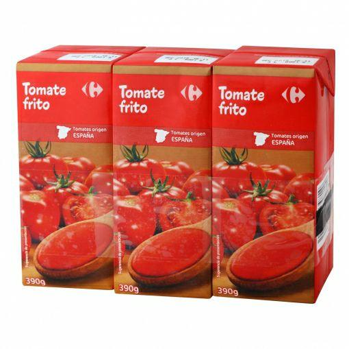 Tomate frito Carrefour pack de 3 briks de 390 g.