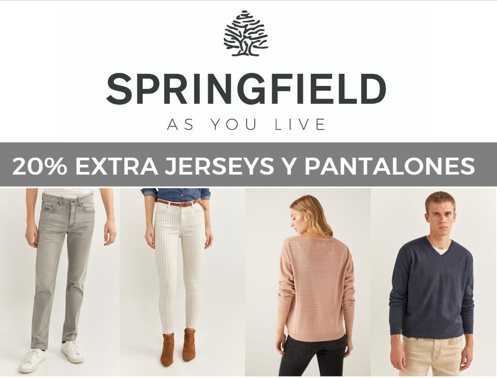 20% Extra en pantalones y jerseys Springfield