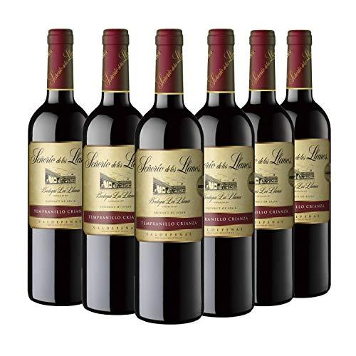 Pack de 6 botellas, Señorío de los Llanos Crianza, Vino Tinto D.O Valdepeñas, 750 ml unidad