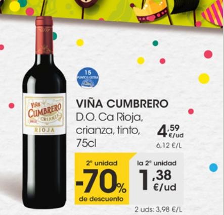 Vino Tinto Crianza Rioja VIÑA CUMBRERO 2ªud. -70% sale la botella a 2,98€