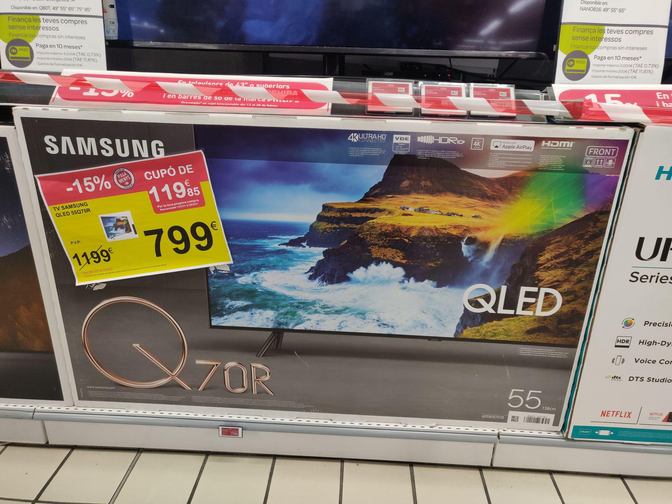 TV Samsung 55Q70R Carrefour Terrassa por 799€ + cupón de 119,85€