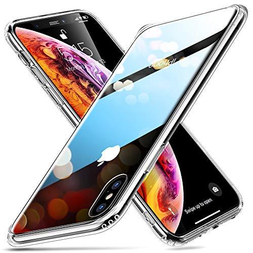 ESR Funda Compatible con iPhone XS MAX 2018, Funda de Vidrio Templado 9H+Borde de Silicona Suave, Transparente