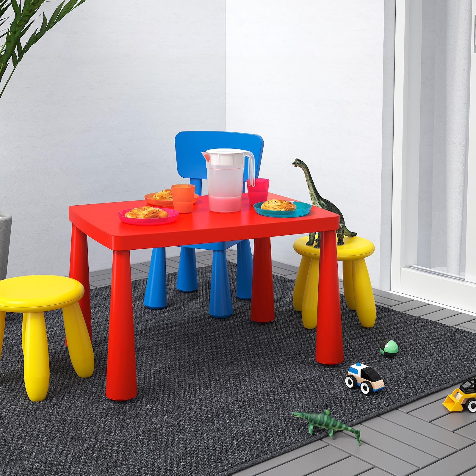 Mesa para niños, int/ext rojo 77x55 cm ( y en blanco)