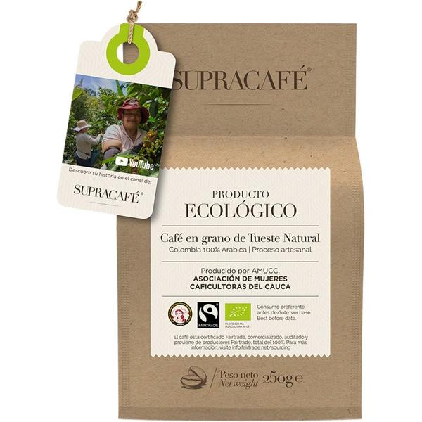 SUPRACAFE - En grano o molido ecológico de tueste natural Colombia 100% arábica envase 250 g - Segunda al 70%