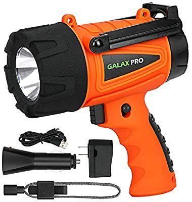 GALAX PRO Linterna LED Recargable Impermeable IPX4, USB y cargador incluidos, Soporte de Emergencia y Silbato