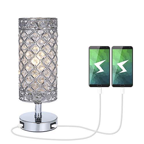 Lámpara mesilla de noche con doble USB para cargar