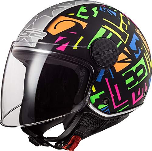 Casco de moto OF558 SPHERE LUX CRISP Negro HI VIS, color Amarillo, Negro/Fluo, talla S