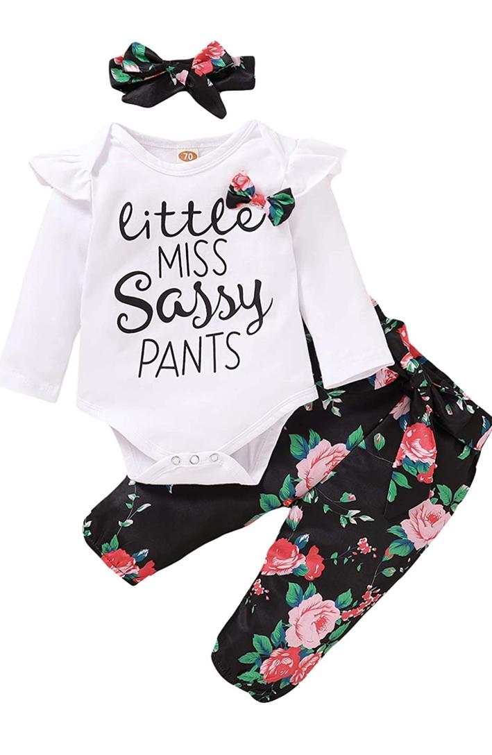 Conjunto body + pantalón + diadema (bebé 12-18 meses)
