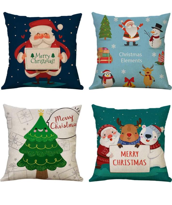 Pack 4 fundas navideñas, cojín 45x45 cm