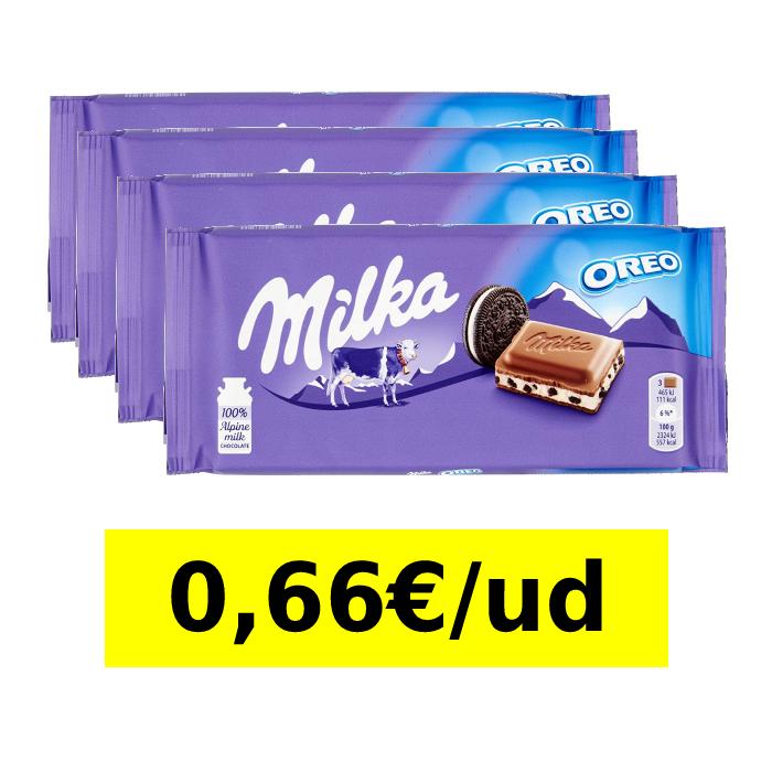 4 tabletas de 100g Milka Oreo - Chocolate con Leche y Galletas Oreo (0,66€/ud)