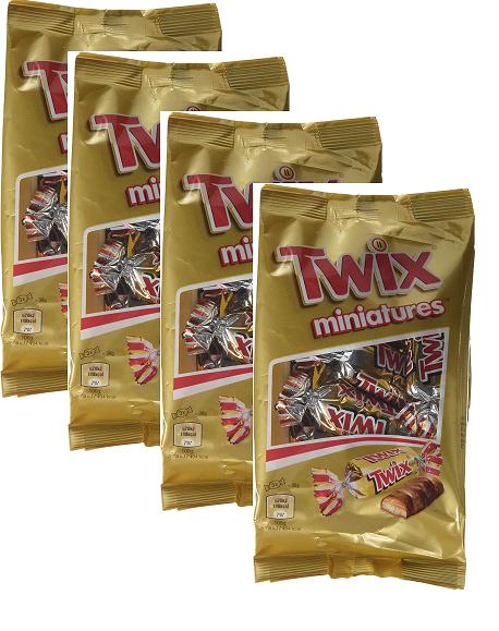 (4 unidades a 1,03€/ud) TWIX mini barritas chocolate con leche bolsa