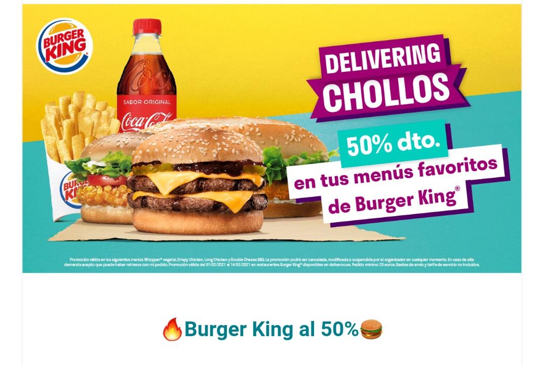 50% de descuento en menus seleccionados de Burger King en Deliveroo (pedidos de +20€)