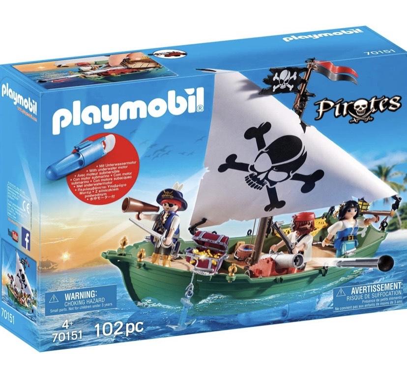 PLAYMOBIL Barco Pirata con Motor Submarino