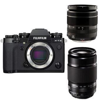 Cámara Evil Fujifilm X-T3 Negra + Objetivos XF 18-55mm y XF 55-200mm