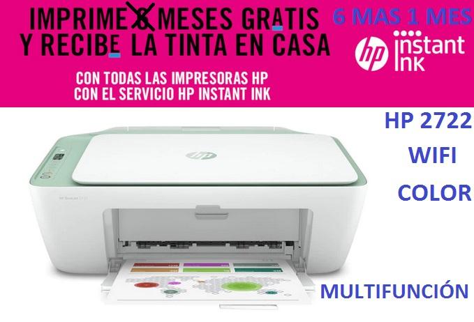 Impresora multifunción HP 2722, Wi-Fi, IMPRIME 6 MESES GRATIS 1500 Paginas/Mes