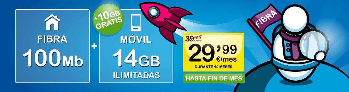Fibra 100 megas y Movil 24 gigas y llamadas ilimitadas por 29.99€