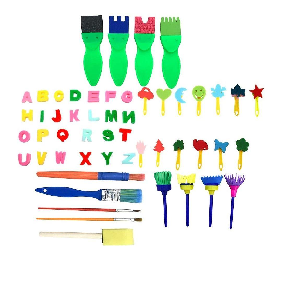 - Juego de 47 pinceles de pintura para niños que aprenden el conjunto de cepillos de las esponjas de la pintura para el arte Craft