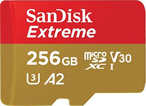 SanDisk Extreme - Tarjeta de Memoria microSDXC de 256 GB con Adaptador SD, A2, hasta 160 MB/s, Class 10, U3 y V30, Oro/Rojo
