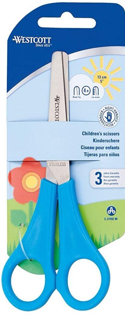 Tijera para niños con regla en cm, de 13 cm, color azul