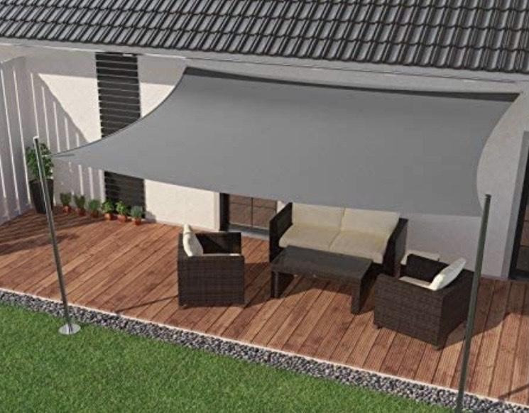 Toldo impermeable, protección solar para jardín o balcón, de PES en ángulo recto, 400 x 400 cm