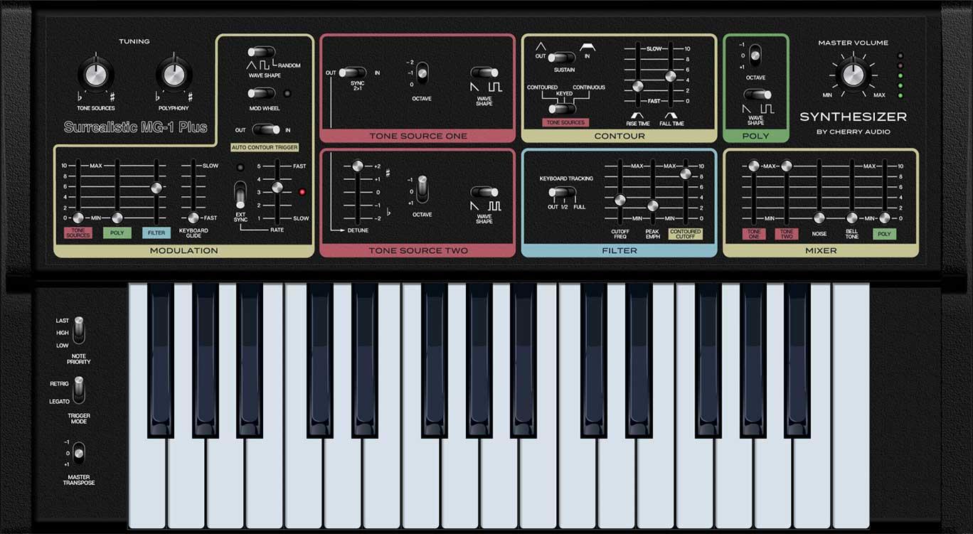 Plugin del sintetizador MG-1 Plus, cortesía de Cherry Audio.