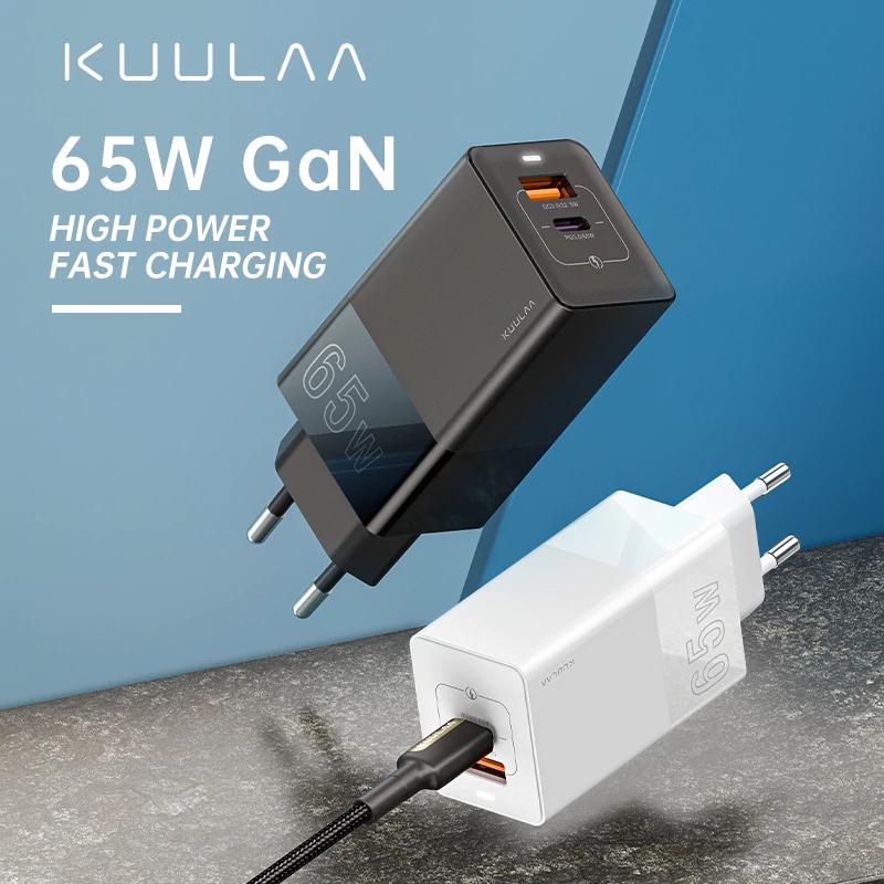 KUULAA - Cargador GaN QC PD, 65W, 4,0, 3,0