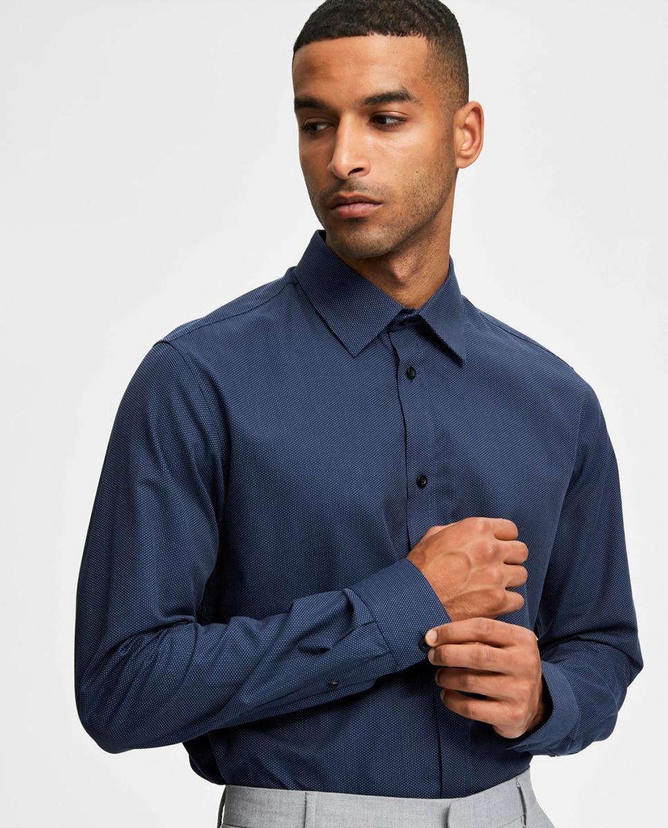 Camisa de hombre slim estampada azul