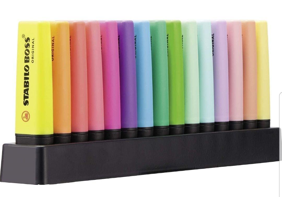 STABILO BOSS Original - Set de mesa con 15 marcadores, 9 colores fluorescentes y 6 colores pastel