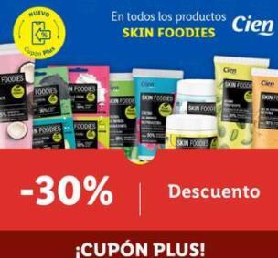30% Descuento en productos cosmética skin foodies