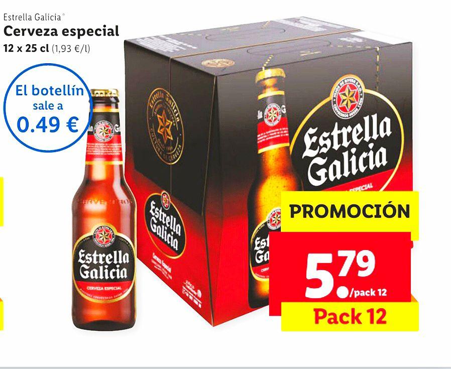 Cerveza Especial Estrella Galicia X12 por 0,49 und. en Lidl