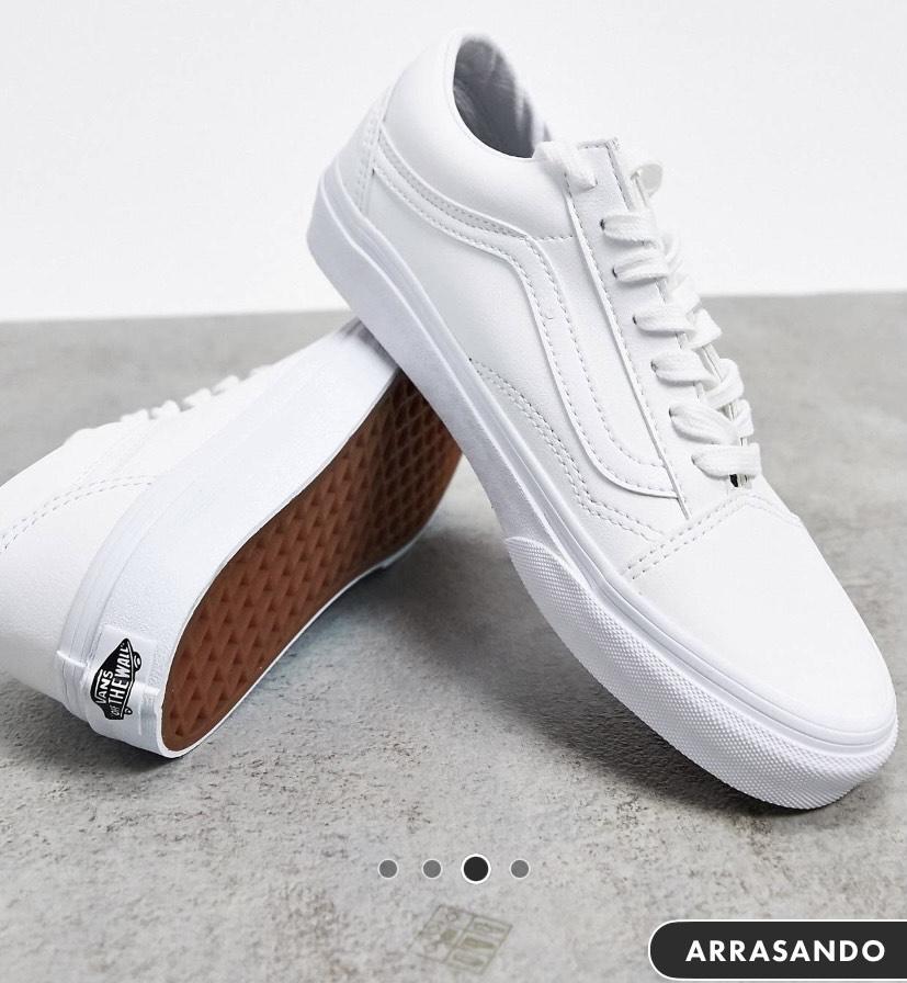 Zapatillas de cuero sintético en blanco Old Skool de Vans