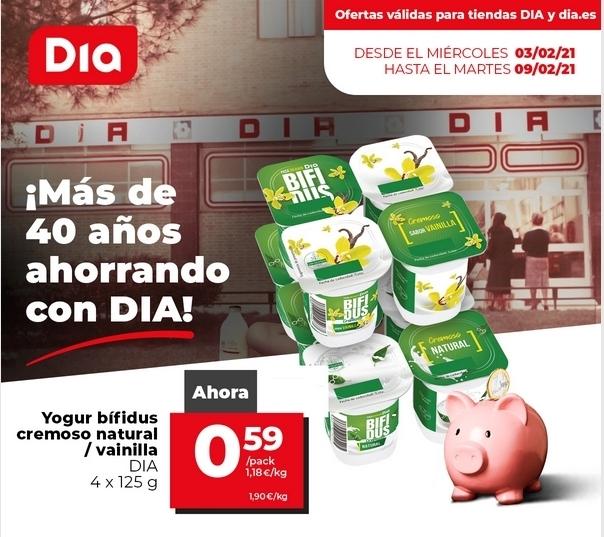 Yogur bifidus cremoso 4x125g. natural/vainilla/melocoton a 0,59€ el pack