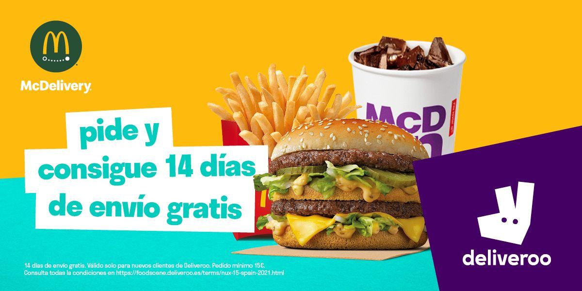14 días de envíos gratis en McDonald's en Deliveroo (nuevos clientes de Deliveroo)