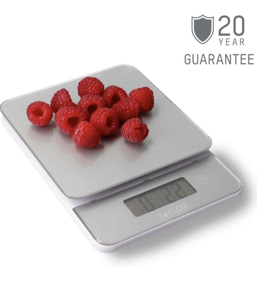 Balanza Digital de Vidrio,Compacta, Pesa los Alimentos con Alta Precisión y Función de Peso con Tara, Plata, 5 kg de Capacidad