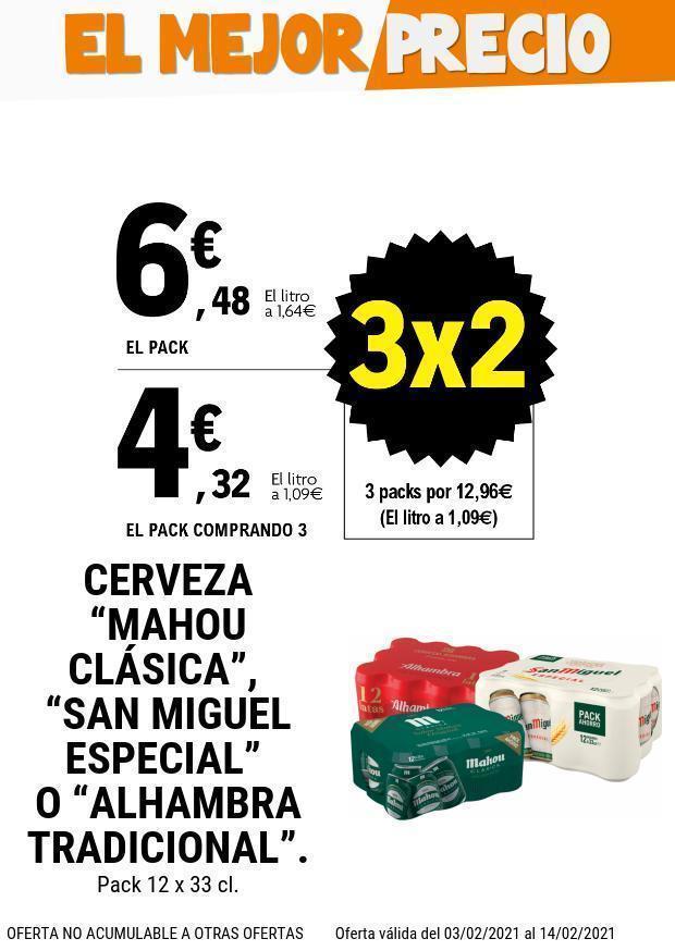 3x2 en Supermercados Leclerc Mahou/S.Miguel/Alhambra (3 packs=12,96)