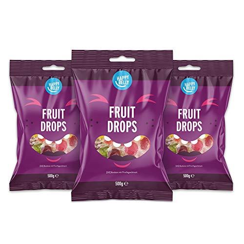 Pack de 3 Paquetes de Caramelos Marca Amazon, Happy Belly, con sabor a fruta, 500g unidad