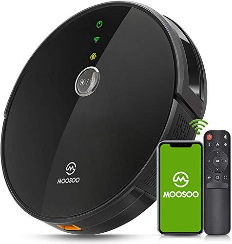 Robot Aspirador, MooSoo 2300Pa Compatible con Alexa y Google Assistant, con Navegación Inteligente, Anti-Colisionesc, Silencioso,