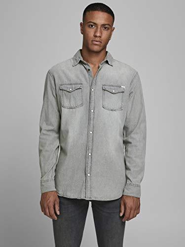 Camisa vaquera Jack&Jones fit (ajustada) color gris.