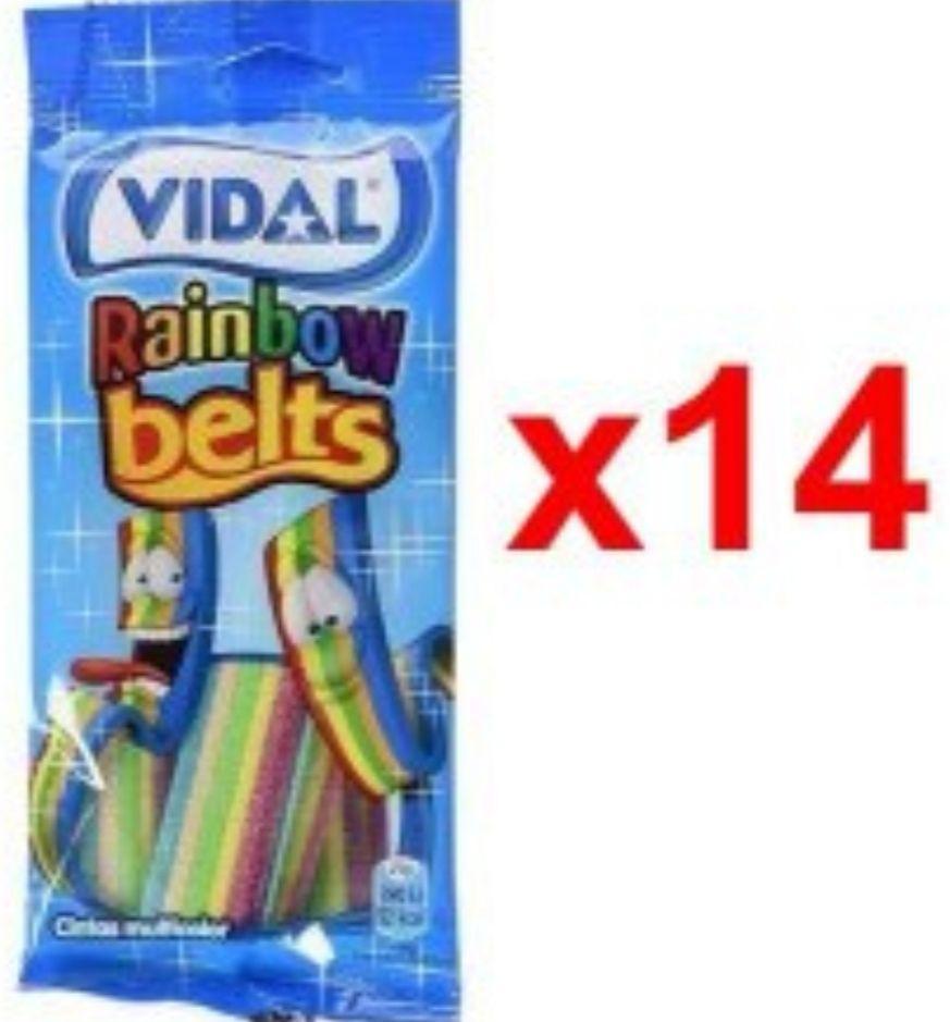 Paquete con 14 bolsitas de 100g de Cintas de regaliz multicolor
