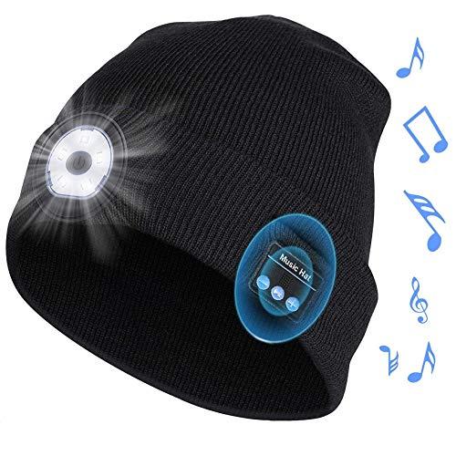 Gorro con auriculares por Bluetooth y luz LED